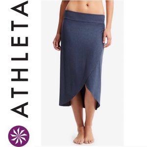 ATHLETA blue high low wrap jersey RIBBON SKIRT XS